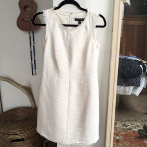 BR Linen Look Dress with Frayed Hem